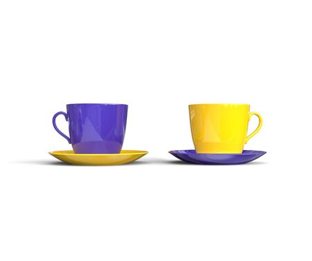 coffee cups: Purple and Yellow Coffee Cups