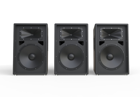 Three big concert speakers Imagens