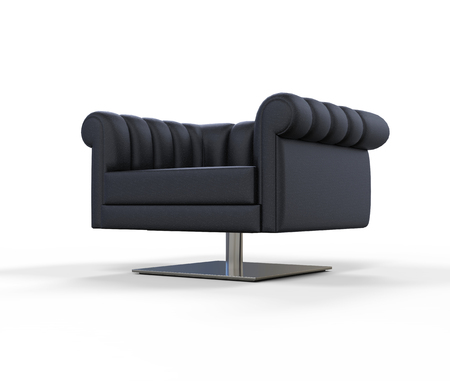 angled view: Modern Black Leather Armchair - Angled View