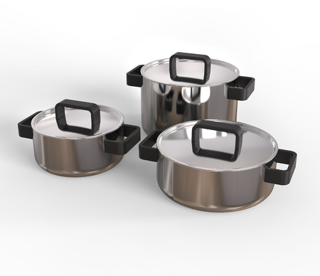 lids: Three pots with lids on Stock Photo