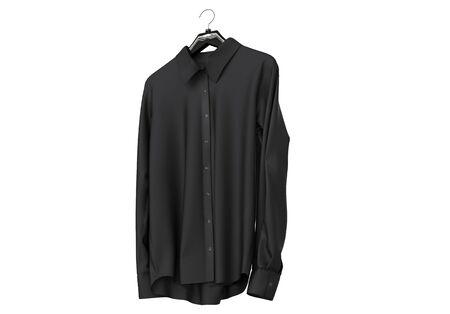 sleeve: Black long sleeve shirt isolated on white background.