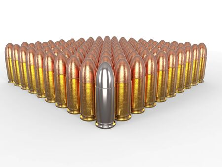 45 caliber: Silver bullet stands out Stock Photo