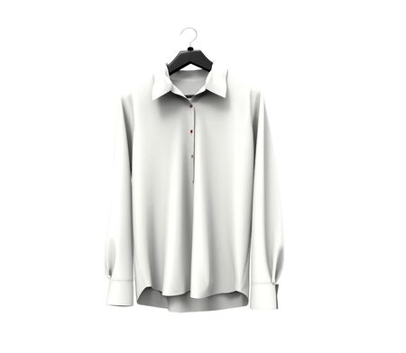 long sleeve shirt: White long sleeve shirt on white background. Stock Photo