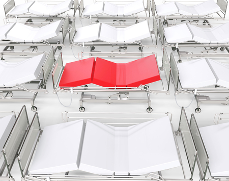 red bed: White hospital beds - red bed standing out