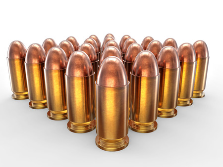 casings: Pack of bullets isolated on white Stock Photo