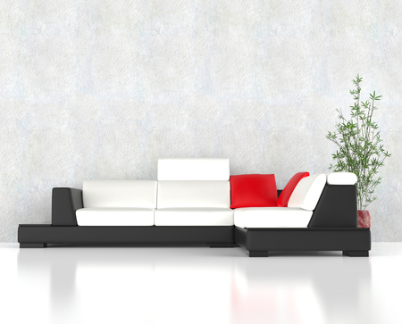 red pillows: Stylish modern corner furniture set wit red pillows