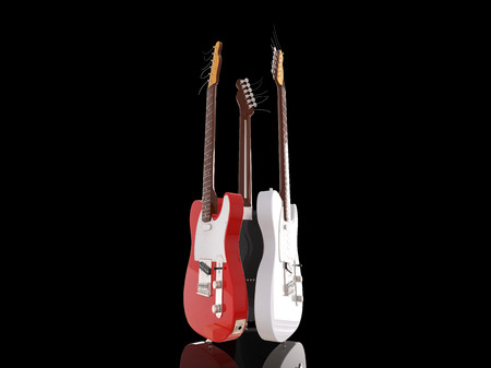 riff: Three electric guitars on black background Stock Photo