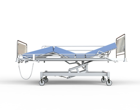 ambulatory: Hospital bed with blue bedding - side view