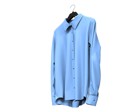 long sleeve shirt: Bright blue long sleeve shirt isolated on white background.