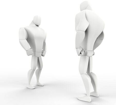 brawny: Two 3D Big Guys Stand off side view. Stock Photo