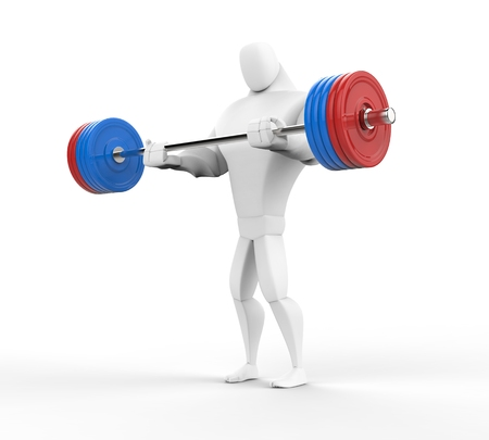 powerfully: 3D bodybuilder practicing barbell curls.