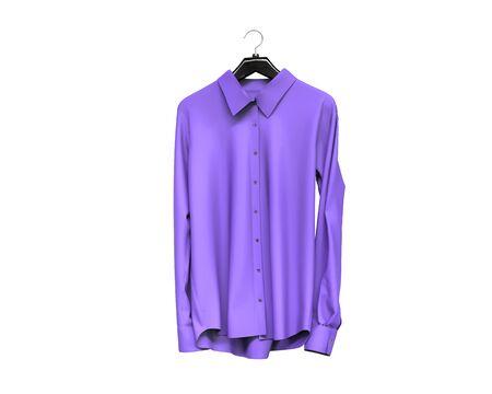 white sleeve: Purple long sleeve shirt isolated on white background.