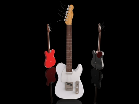 White electric guitar on black background
