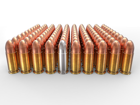 45 caliber: Silver bullet stands out in a pack of ammo Stock Photo