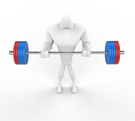 powerfully: 3D bodybuilder practicing standing barbell curls.