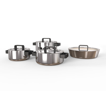 lids: Pots and pans with lids on