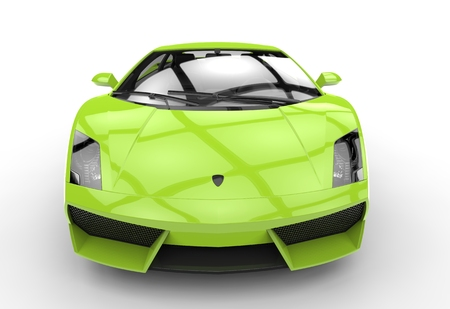 supercar: Bright Green Supercar Front View