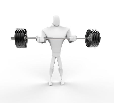 powerfully: Strong 3D Character Weightlifting - front view.
