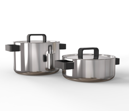 lids: Two pots with lids on Stock Photo