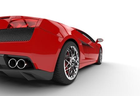 supercar: Red Supercar Taillight Closeup Stock Photo