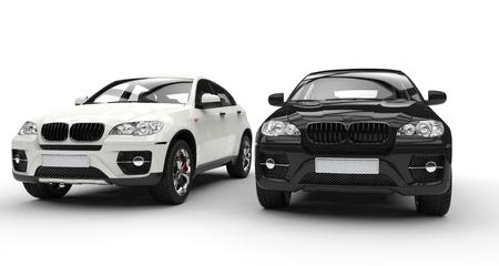 Witte en Zwarte SUV Stockfoto
