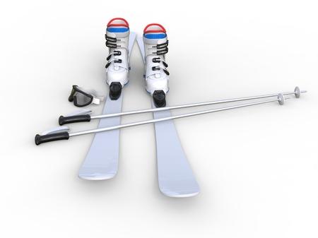 白地、デジタルと印刷のデザインに最適なスキー。 写真素材