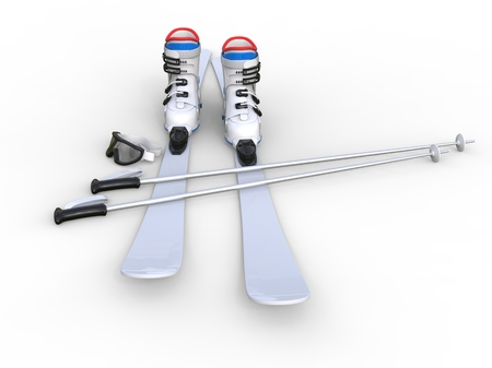 Skis on white background, ideal for digital and print design.