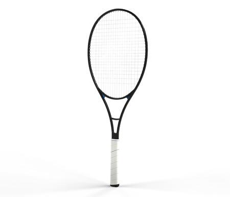 racquet: Black tennis racquet isolated on white Stock Photo