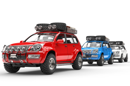 Red, Blue and White SUVs