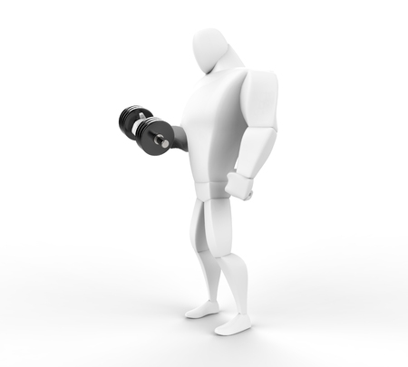 powerfully: 3D Character lifting a dumbell -  left side view.