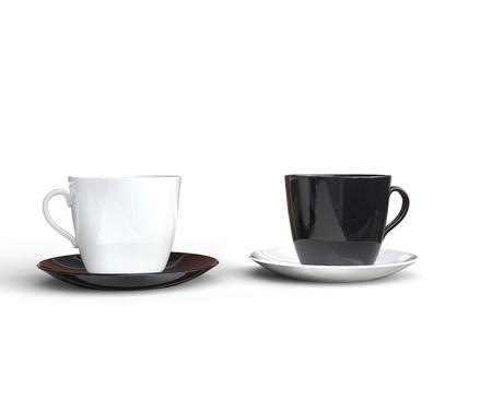 fondo blanco y negro: Blanco y negro tazas de café Foto de archivo