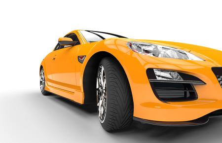 スーパー黄色い車のクローズ アップ 写真素材