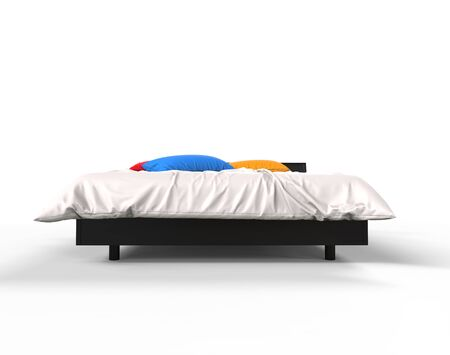 bedsheets: Modern bed with colorful pillows - front view