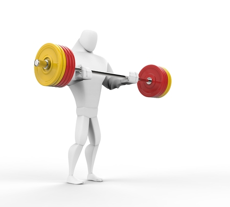 powerfully: 3D Strong Character doing barbell curls. Stock Photo