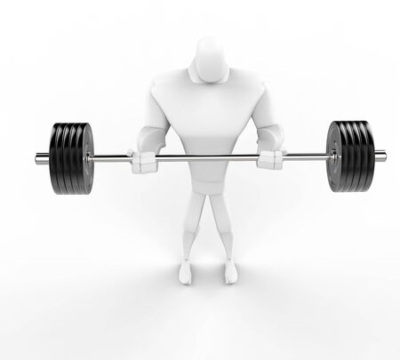 powerfully: Strong 3D Character Weightlifting - top view.