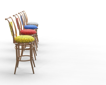 Red, Blue, Yellow And White Coffee Shop Chairs   Side View. Stock Photo