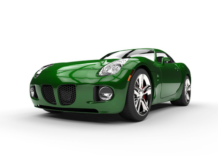 Green Muscle Car Beauty Shot Stock Photo