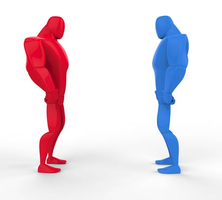 tough man: Red and blue 3D Strongmen in a stand off. Stock Photo