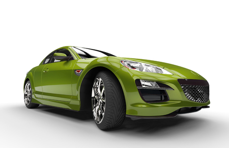 Super Green Car Stock Photo