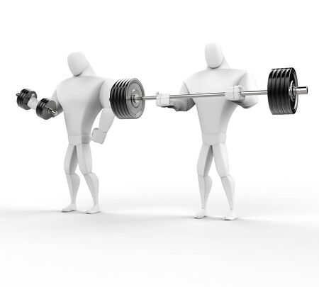 powerfully: Two 3D Characters Weightlifting - isolated on white background.
