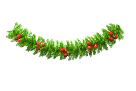 Christmas tree branch with red baubles