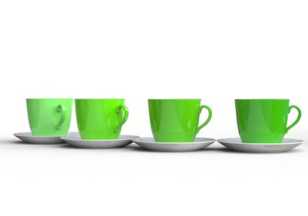 coffee cups: Stylish Green Coffee Cups Stock Photo
