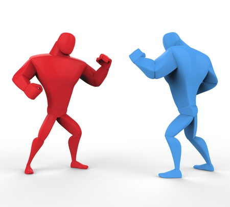 fighting stance: Red and blue boxers in a fighting stance. Stock Photo