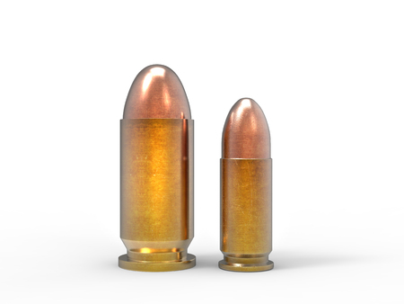 45 caliber: Small caliber bullets isolated on white background Stock Photo
