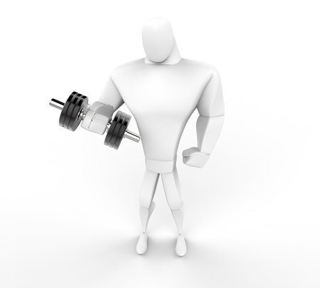 powerfully: 3D Character lifting a dumbell -  top view.
