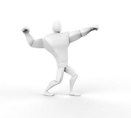 brawny: 3D Athlete Power Posing - isolated on white.