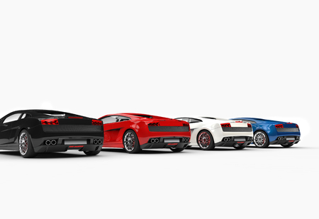 Row Of Supercars Back View