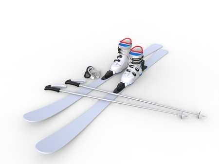 Skis with ski boots - wide angle on white background, ideal for digital and print design. Фото со стока