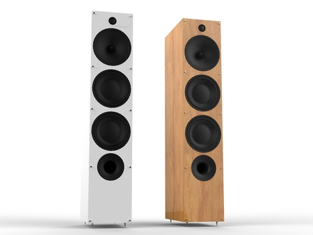 acoustic systems: White and wooden modern speakers