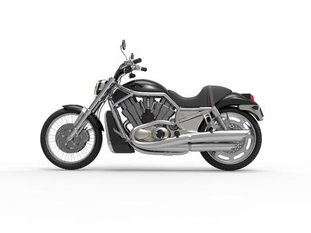 motor vehicle: Black Roadster Bike - Side View